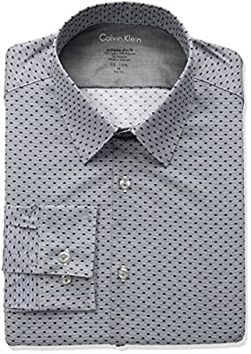 Calvin Klein Mens Dress Shirts Xtreme Slim Fit Box Print Thermal Spread Collar