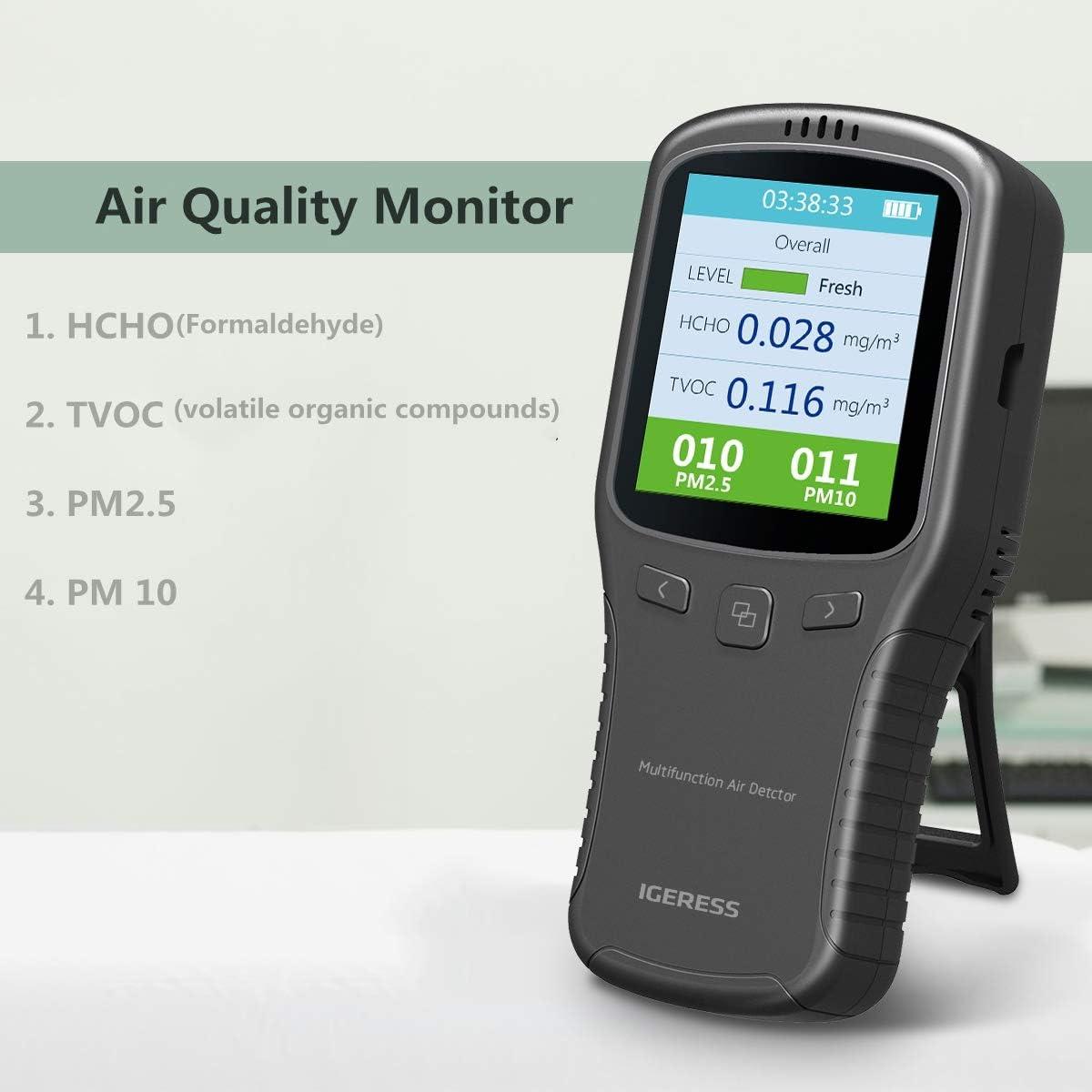 Digitale PM2.5 Tester HCHO//TVOC//CO2 Gas Tester Monitor//Misuratore della qualit/à dellaria Utilizzato per interni//Cucina//Auto,TZUTOGETHER Rilevatore di Misuratore della qualit/à dellaria