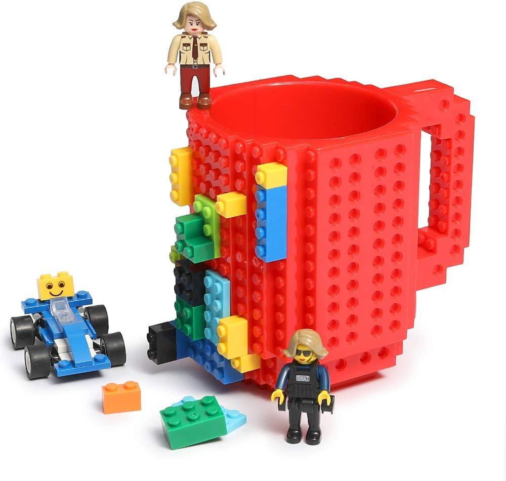 Lumsburry Build-On Brick Mug Taza de café de Bricolaje Bloques de construcción creativos para café Bebida de té Bebida Divertida Regalo (Rojo)