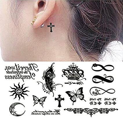 Oottati Pequeño Lindo Tatuaje Temporal Mariposa De La Corona Del Símbolo Infinito (2 Hojas)