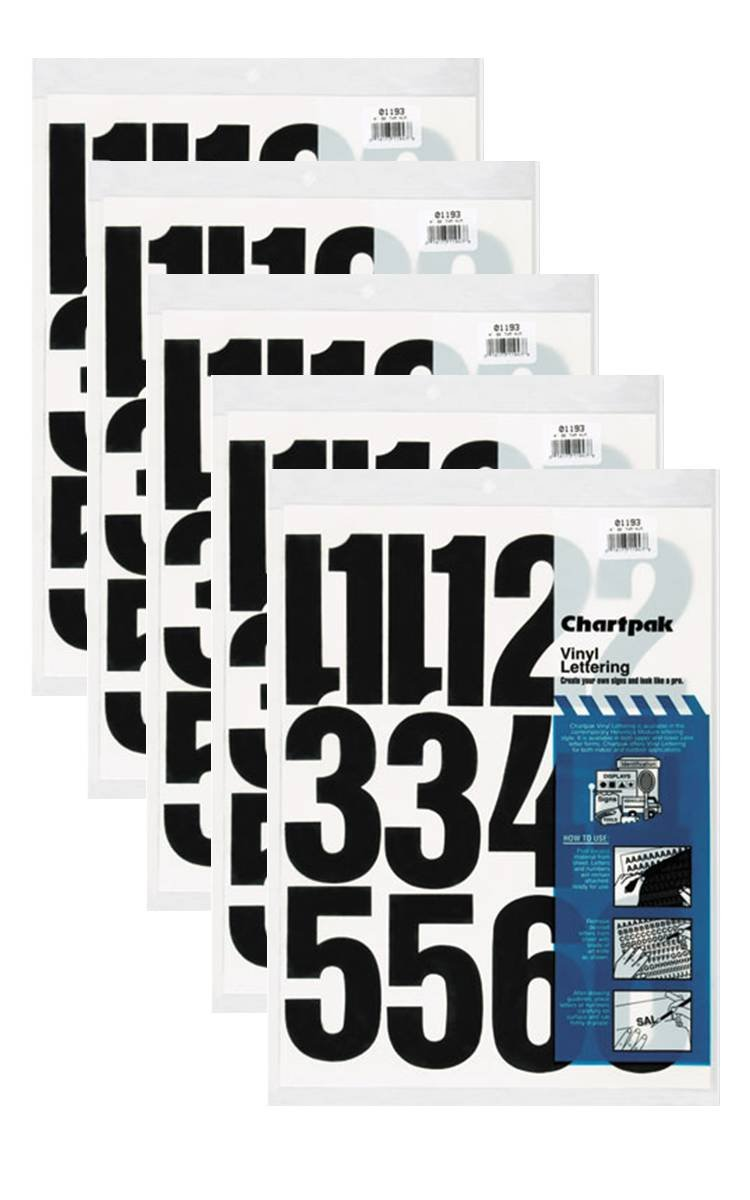Chartpak 4-inch Black Stick-on Vinyl Numbers (01193), 5 PACKS by Chartpak