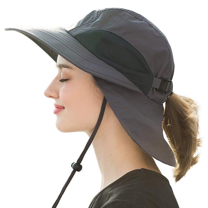 443191980fb0d SOMALER Womens Safari Sun Hats Wide Brim Packable UV UPF Ponytail Beach  Fishing Hats Dark Grey