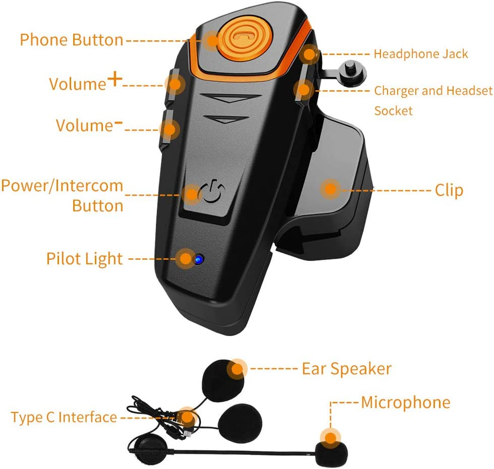 Snowmobile Helmet Bluetooth Headset 1000m Helmet Bluetooth Communication System Connect up to Three People Two People Talk at The Same time(1pack) Anqiban BT-S2 Motorcycle Bluetooth intercom
