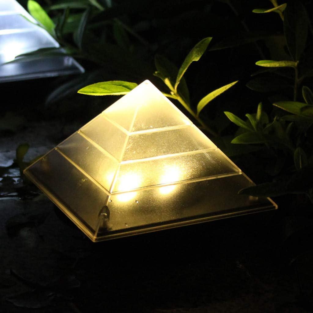 MASODHDFX 2pcs/lot Light for Garden Decorative Power Outdoor Solar Lamp Luminaria Pyramid LED Buried Garden Lawn Path Lamp Patio Decor,A