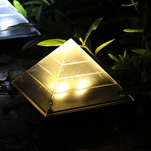 Nesee Solar Powered Lights,2Pack Solar Pyramid Ground Light LED Buried Outdoor Garden Lawn Path Lamp Patio Decor