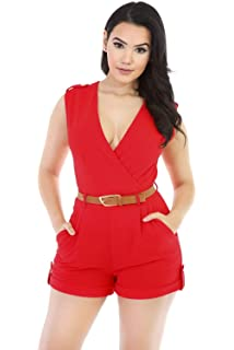 4be3c8ff4fe New Red Buckle Up Stylish Romper Jumpsuit Playsuit Catsuit Club Wear Size UK  8 10