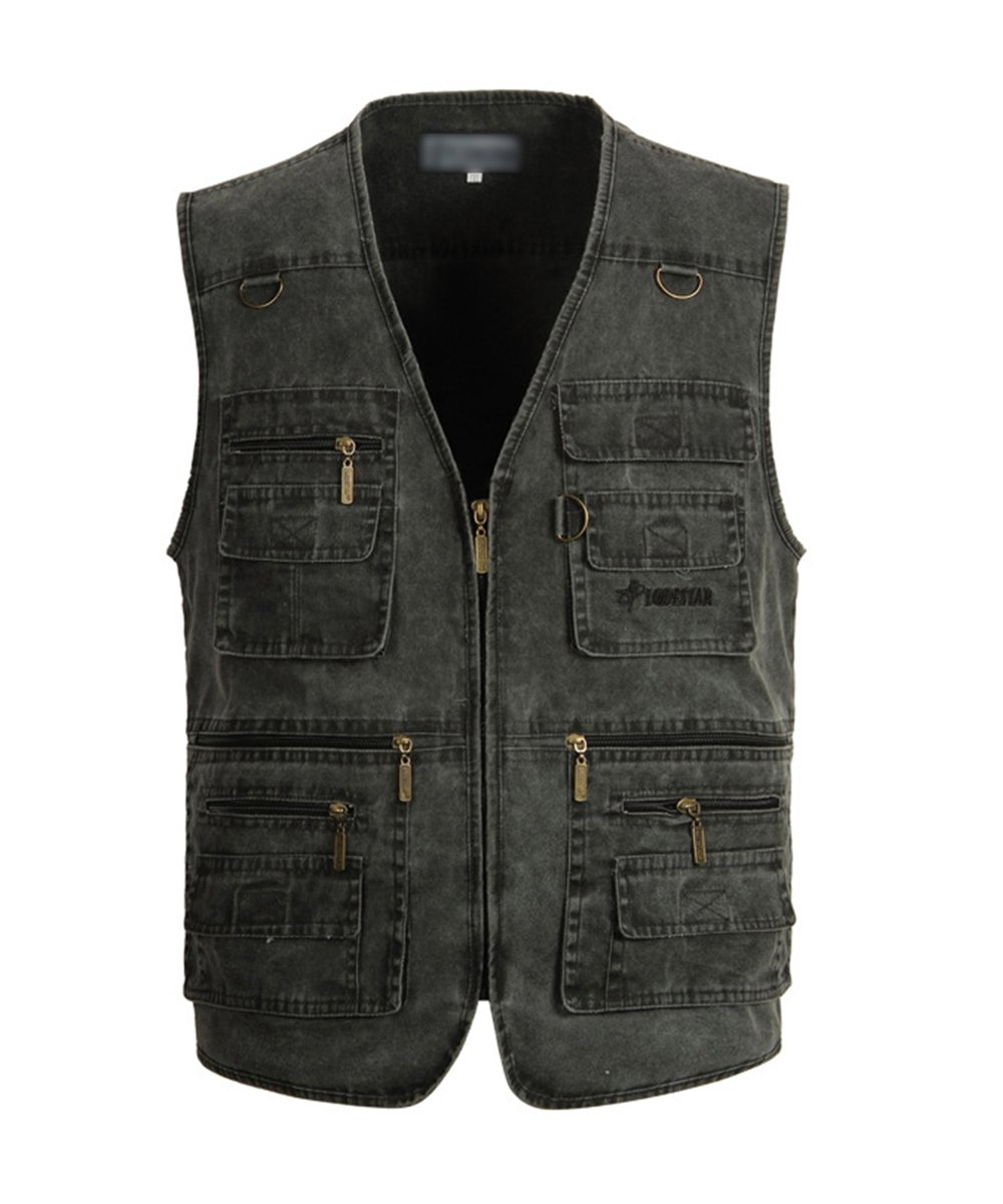 Mens Active Work Utility Hunting Travels Sports Vest With Pockets Steel Gray US XL/Label 4XL