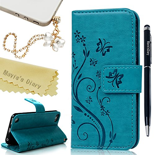 Itouch Flip Case (iPod Touch 6 Case,Touch 5 Wallet Case, Mavis's Diary Fashion Embossed Floral Butterfly PU Leather Flip Stand Cover & Wrist Strap Card Holders for iPod Touch 5th/6th Generation & Dust Plug & Pen - Blue)