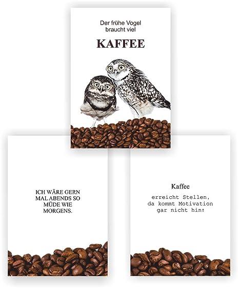 Greenluup 3er Set Poster Spruch Lustige Sprüche Kaffee Der Frühe