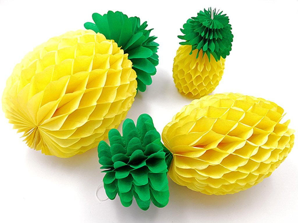 9pcs with 3 Sizes Kinteshun Hawaiian Tissue Paper Pineapples Honeycombs Ball Hanging Centerpieces for Luau Beach Theme Party Decoration