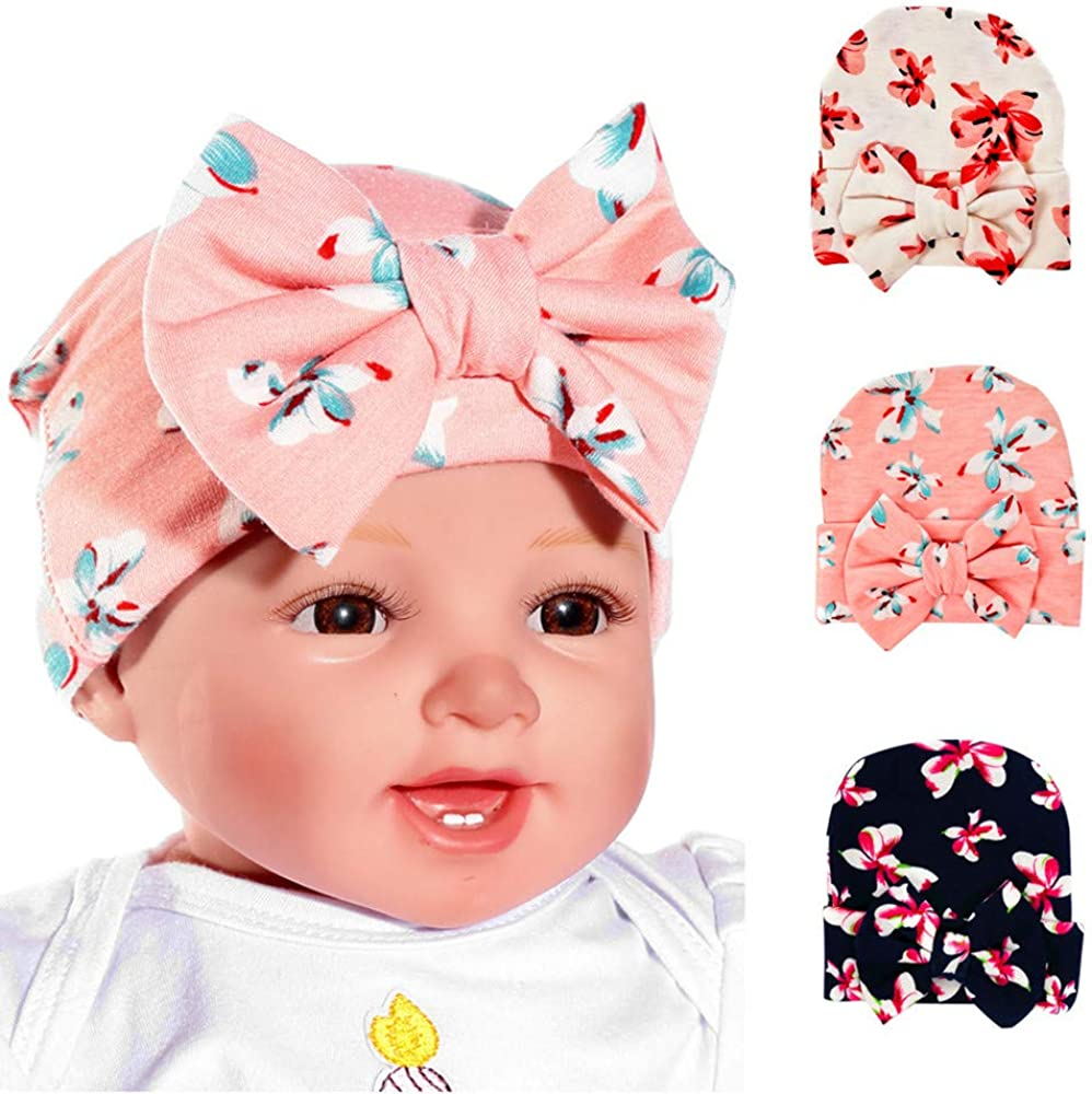 Newborn Baby Infant Girl Nursery Beanie Hospital Hat With Bow for Toddlers