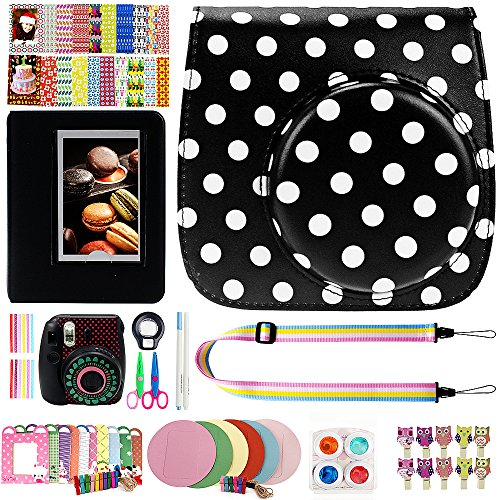 Elvam 12 in 1 Camera Accessory Bundles Set for Fujifilm Instax Mini 8 – Black Polka Dots (Mini 8 Case/Camera Strap/Album/Film Frames/Stickers/Border Stickers/Lens/Filter/Owl Clip/Pens/Scissors)