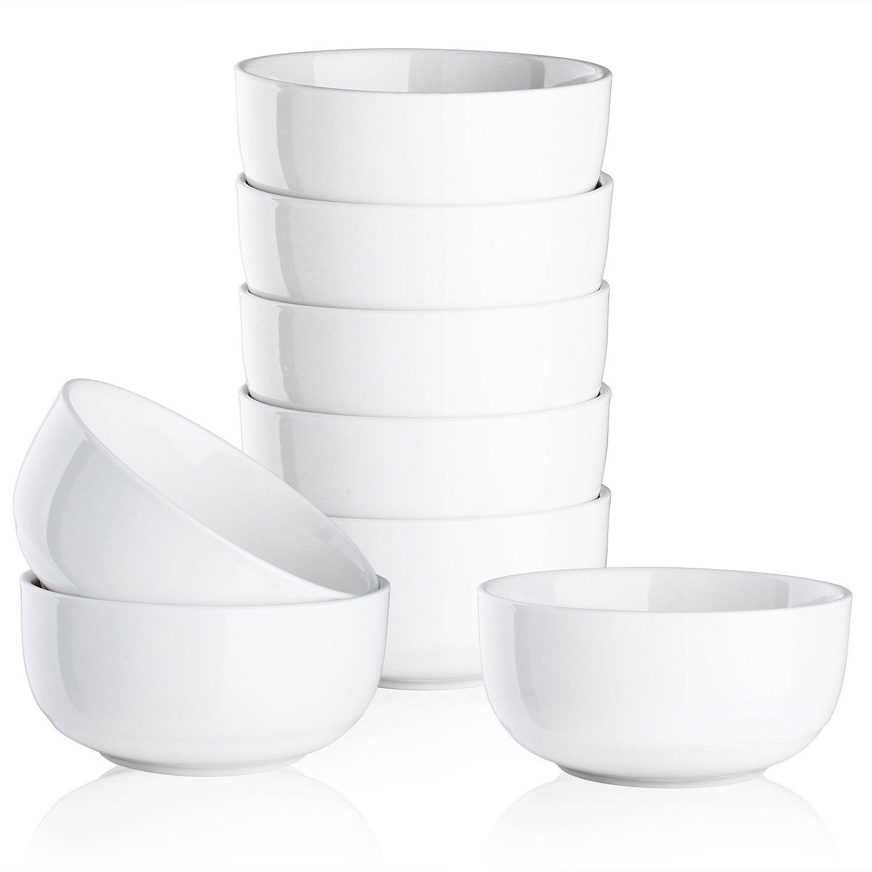 Mandydov 10 Ounce Porcelain Bowl Set Dessert Bowls Dinnerware for Cereal Cottage Cheese Fruit Crackers Salad - Set of 8 White