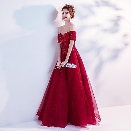 DIDIDD Deslumbrante Lujo Rojo Nupcial Boda Vestido de Novia Cena de la Boda Brindis,Rojo