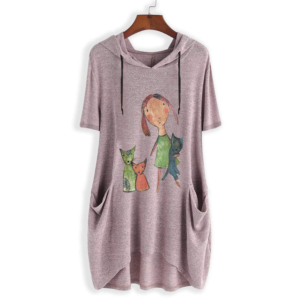 CCOOfhhc Blouses for Women Cute Graphic Summer Casual Short Sleeve Tops Tee Hooded Irregular Tunic T-Shirt with Pockets