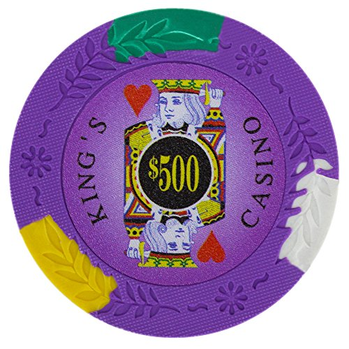 (Brybelly King's Casino Premium Poker Chip 14-gram Heavyweight Clay Composite – Pack of 50 ($500 Purple))