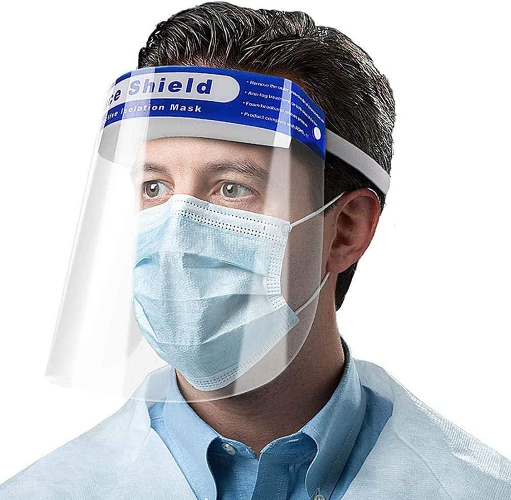 Gnohnay S/écurit/é Protection int/égrale du Bouclier Facial,Yeux r/églables Anti-bu/ée avec Bande /élastique de Protection en Film Transparent et /éponge de Confort,Couverture faciale Anti-crachats