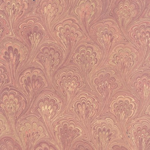 Handmade Italian Marble Paper- Peacock Victorian Rose with Gold 19.5 x 27