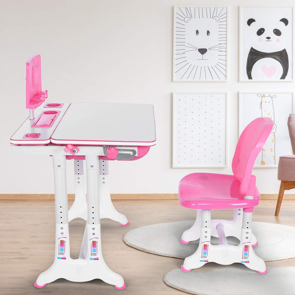 Kids Study Desk and Chair Set Studying Table Chair Painting Learning Desk and Chair Set Tiltable Desktop with Reading Stand for Study Room School Student Pink Children Table and Chair Set