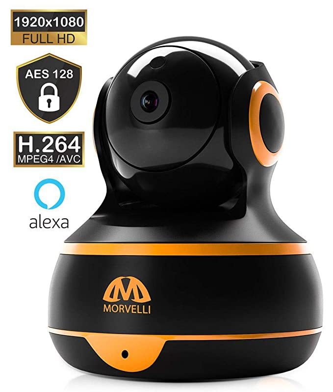 [New 2019] FullHD 1080p WiFi Home Security Camera Pan/Tilt/Zoom - Best Rated Smart App, Work with Alexa - Wireless IP Indoor Surveillance System - Night Vision, Remote Baby Monitor iOS (Black) best home security IP cameras