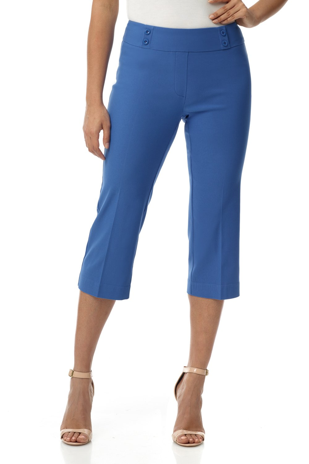 Rekucci Women's Ease in to Comfort Fit Capri with Button Detail (8,Bluebell)