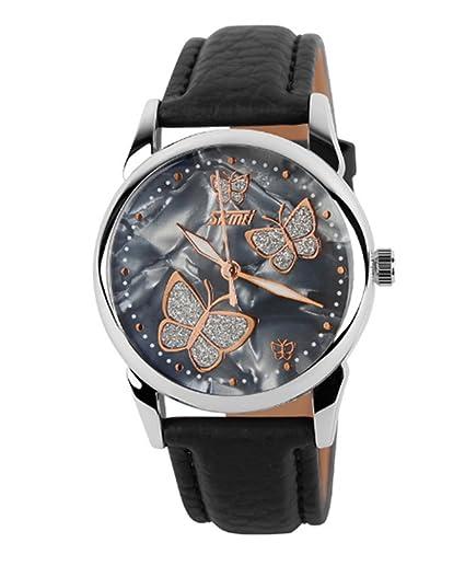 relojes de las mujeres negras correa de piel con cáscara elegante mariposa marcan los relojes populares únicas para los estudiantes: Amazon.es: Relojes