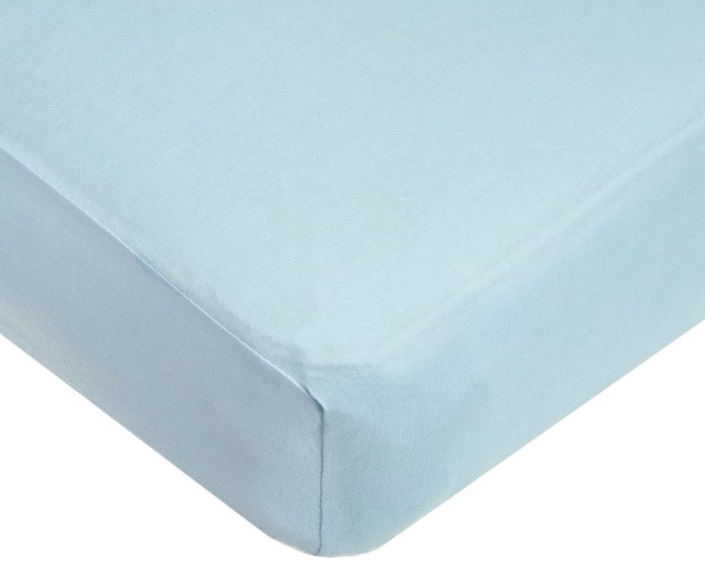 Light Blue Solid 1 PCs Fitted/Bottom Sheet Only Queen Size Bland Durable Elastic all around for a perfect fit 400-Thread-Count (15'' Pockets) Egyptian Cotton by Rajlinen