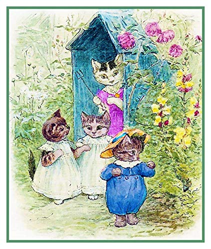 Tom Moppet and Mittens Kitten Inspired by Beatrix Potter Counted Cross Stitch Pattern