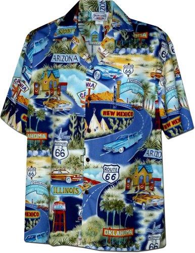 (Historic Route 66 Mens Car Shirts Navy XL(410-3719))