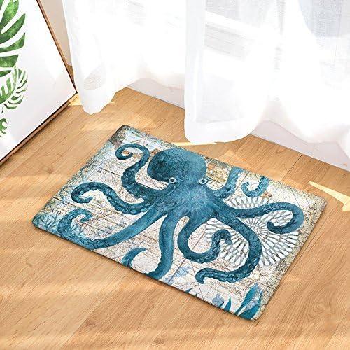 EZON-CH Modern Non Slip Watercolor Sea World Animal Home Bathroom Bath Shower Bedroom Mat Toilet Floor Door Mat Rug Carpet Pad Doormat 19.7X31.5IN Octopus