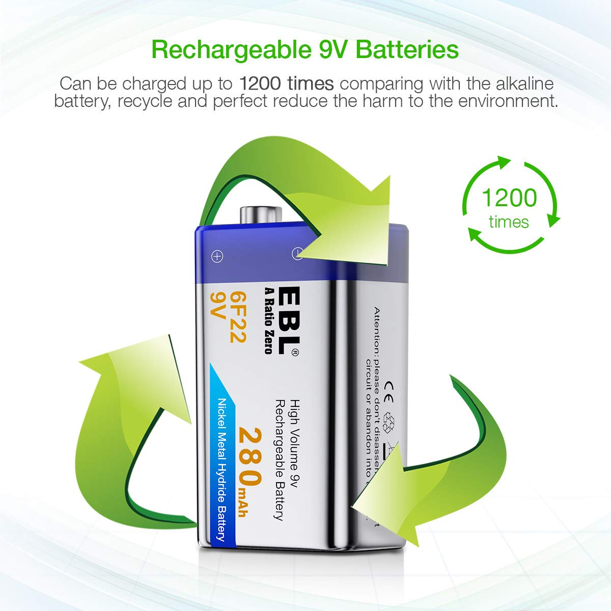 Ebl 9v Rechargeable Batteries Nimh Everyday 280mah Alkaline Battery Charger Circuit For Smoke Alarm Detector 4 Packs Electronics