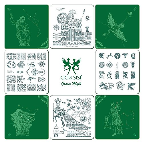 CICI&SISI Nail Art Stamp Stamping Templates - 4 Manicure Plates Set by Salon (4 Stamp Plate)