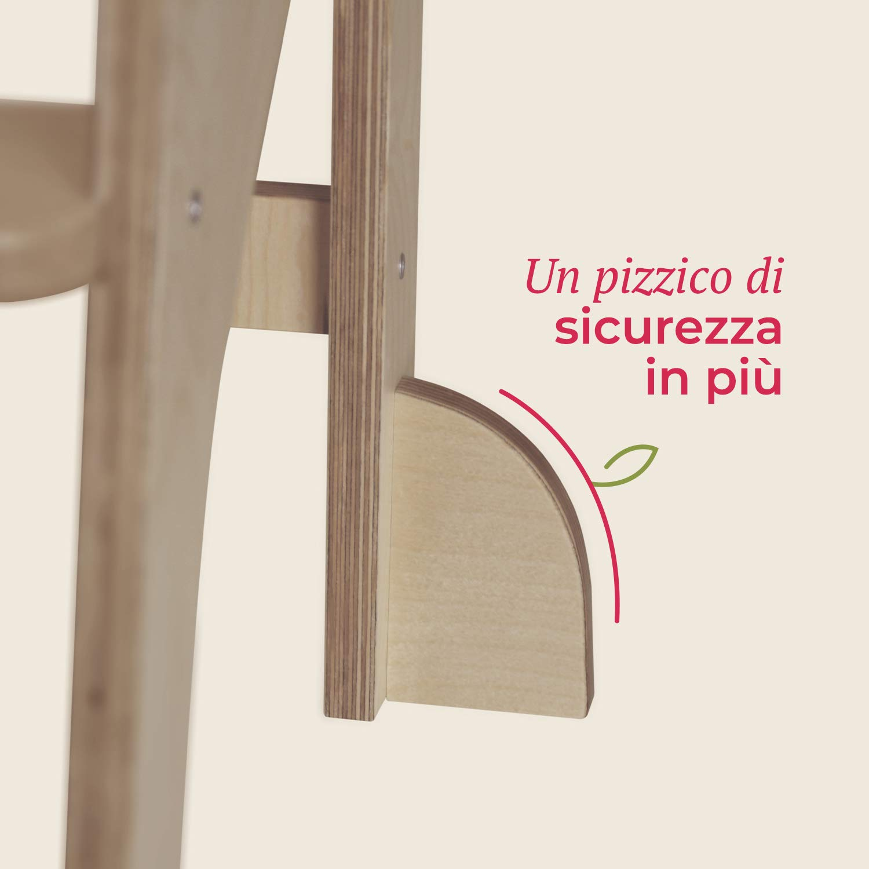 Bianconiglio Kids /® Safety Pack F/ü/ße f/ür EVO 2019 Learning Tower Legno naturale non trattato