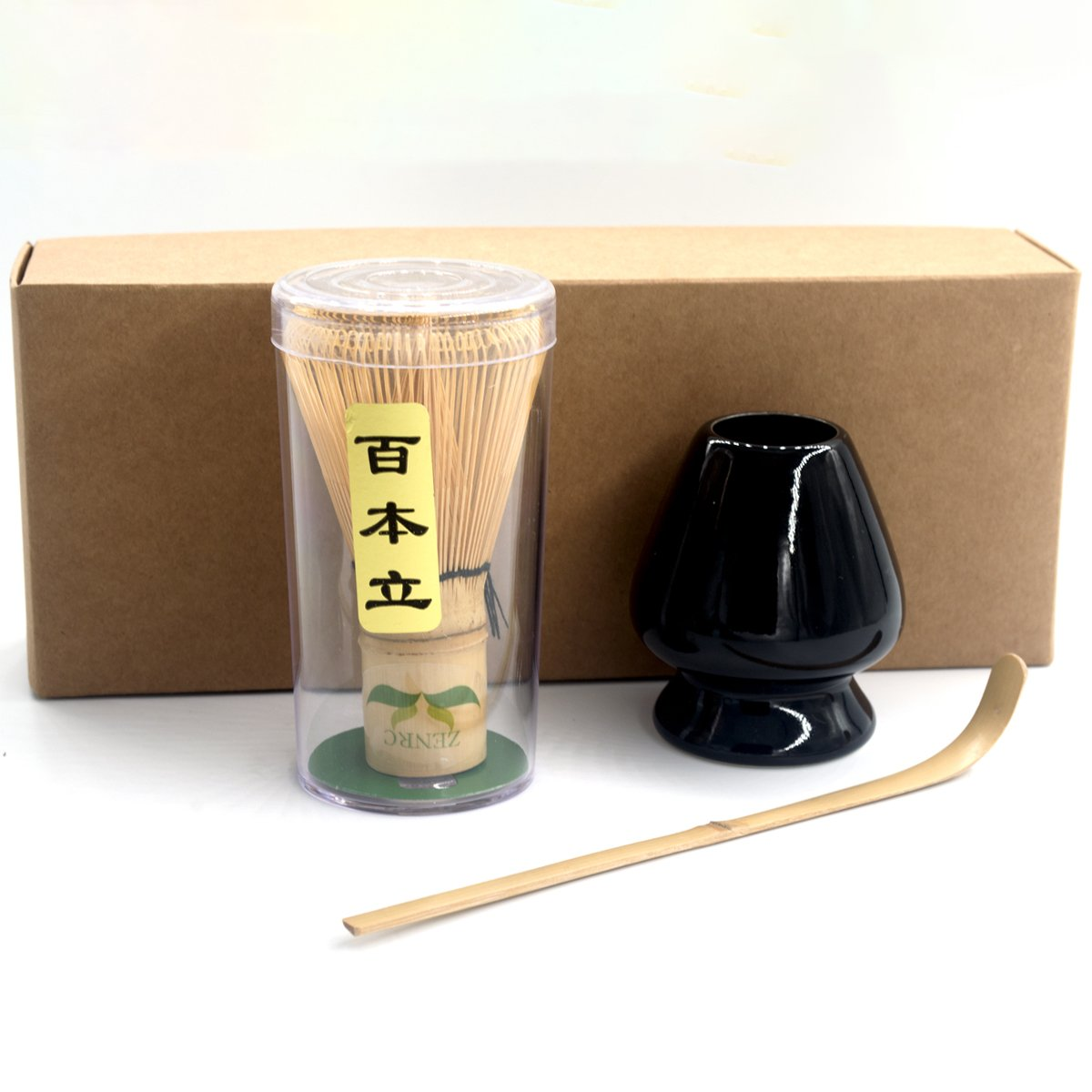 3/pc Matcha Kit include Organic Bamboo 100 prongs Chasen (Matcha Whisk) Hooked Scoop (Chashaku) and whisk holder - Japanese Tea Ceremony Giftset