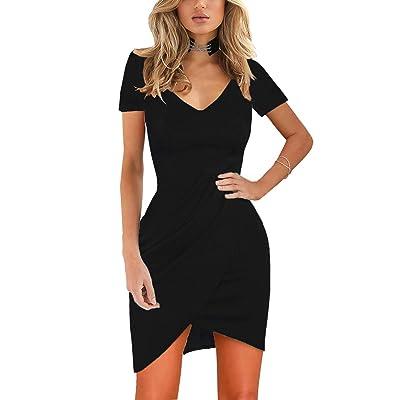 Zalalus Women's Elegant Short Sleeve Stretchy Bodycon Casual Mini Dress: Clothing