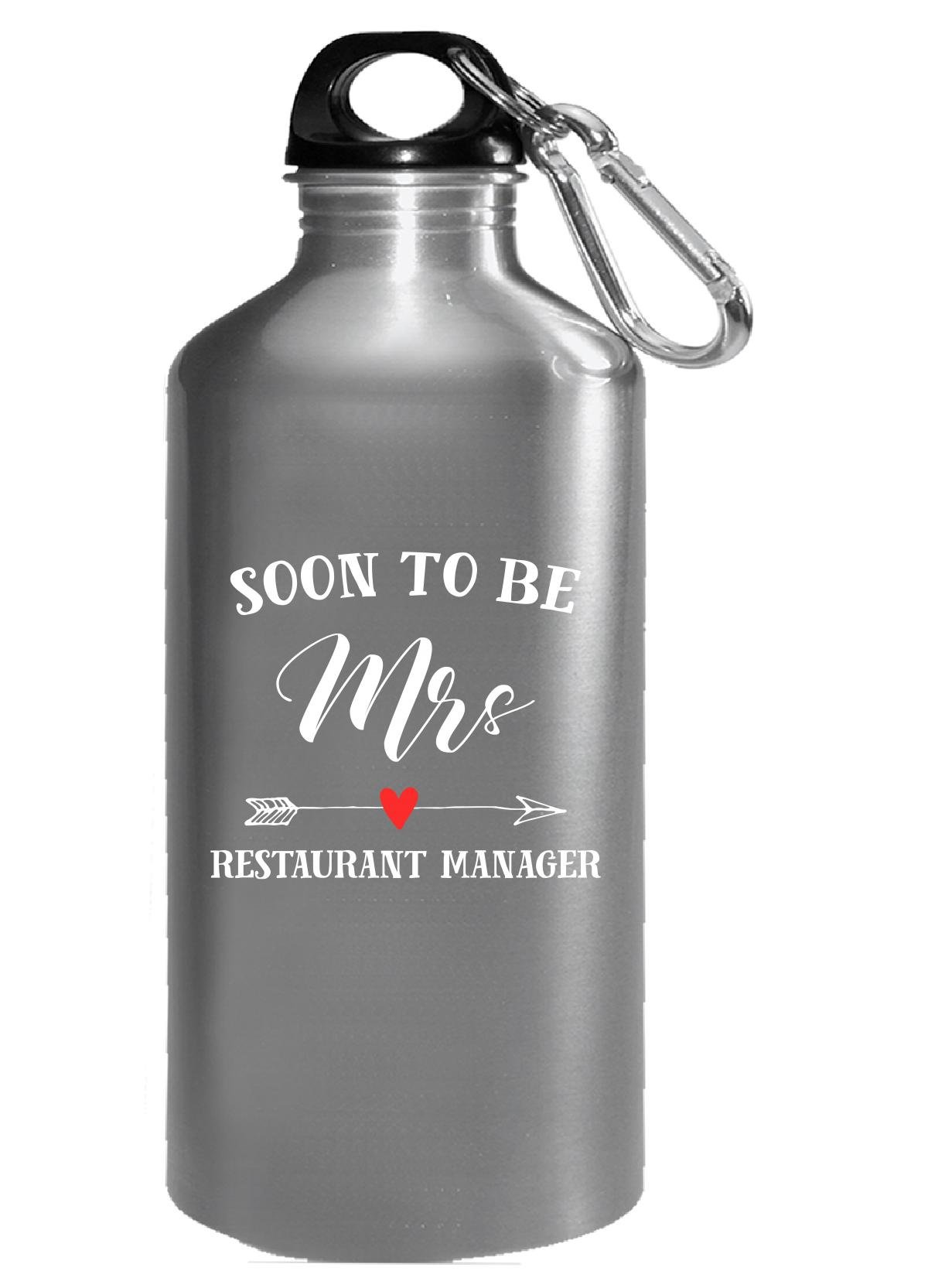 Soon To Be Mrs Restaurant Manager Womens Bridal Wedding Gift - Water Bottle