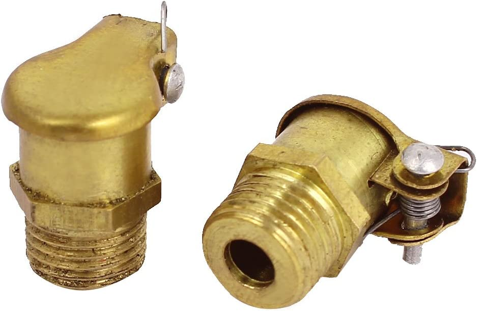 Lubricating Spring Cap Grease Oil Cup 10mm Thread Dia 2Pcs Brass Tone