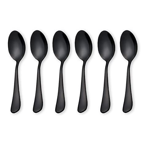 Home & Garden Store Black Pukka Home Dessert Spoon 18/10 Stainless Steel 6-Piece Vogue Mini Teaspoons Set for Sugar Espresso Tea and Coffee Spoons,5 Inch Frosted Handle Spoons