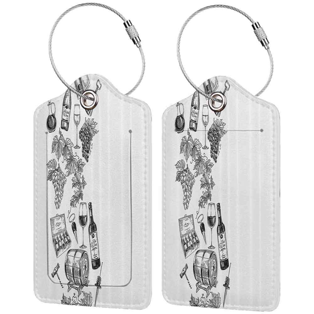 Flexible luggage tag Sketchy Decor Vintage Illustration of Hand Drawn Grapes Wine Bottle Wineglass and Cask Fashion match Black and White W2.7 x L4.6