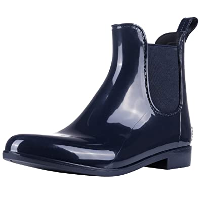 6f367a7fd12e Evshine Women s Short Ankle Rain Boots Lightweight Chelsea Rain Boots  Rubber Waterproof Booties NY36 Navy