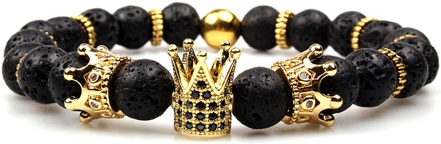 GVUSMIL Imperial Crown Bead Bracelet King&Queen Luxury Charm Couple Jewelry Xmas Gift for Women Men