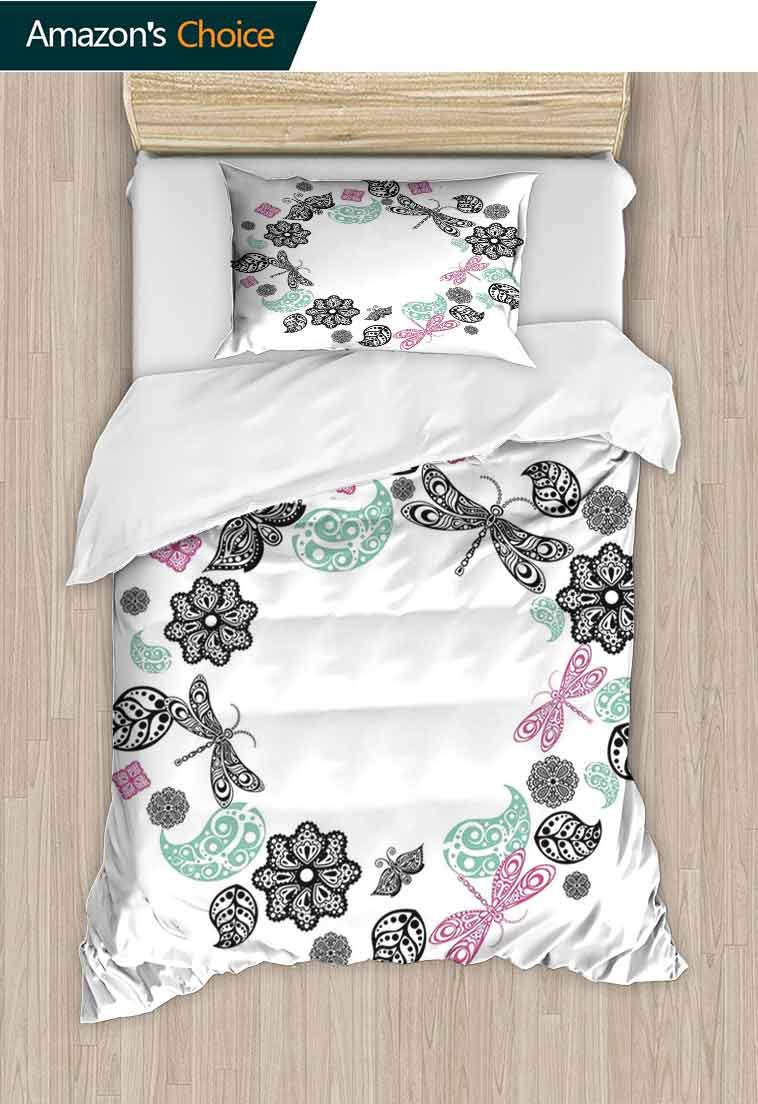 Dragonfly Printed Quilt Cover and Pillowcase Set, Floral Ornamental Round with Dragonflies Butterfly Leaves Pattern, 2 Piece Bedding Quilt Coverlets - 100% Cotton Bed Quilts Coverlet Pink Blue Black