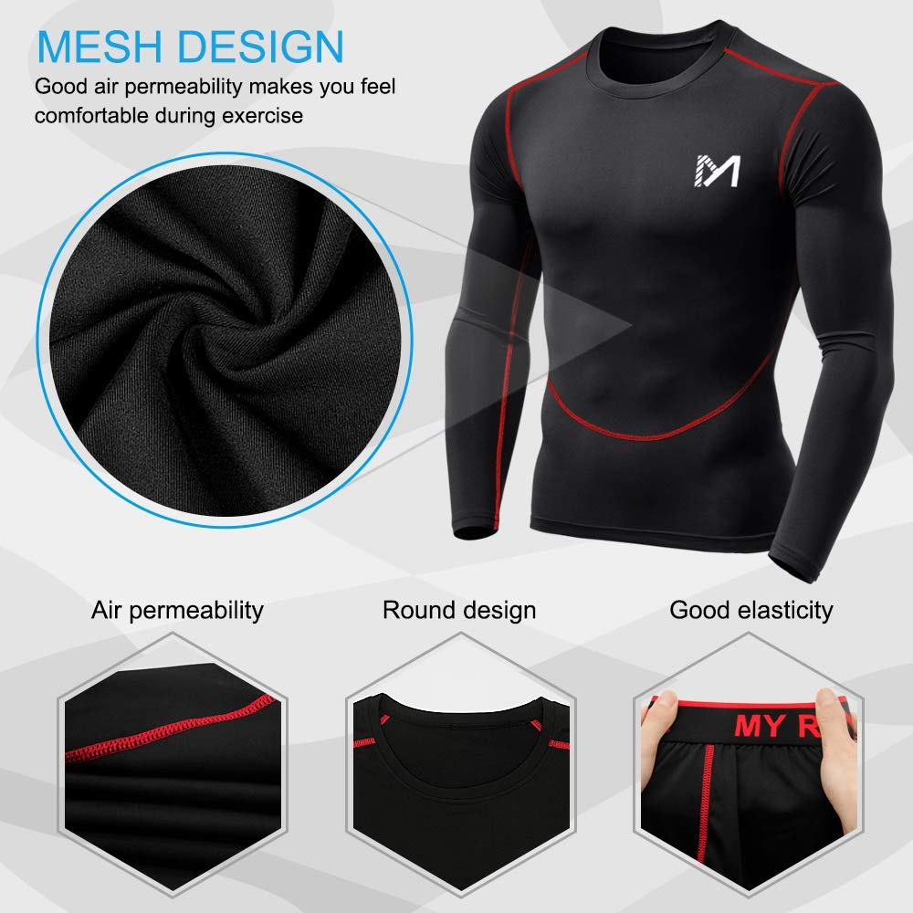 Mens Base Layer Underwear Set Cool Gear Quick Dry Long Sleeve Compression Shirt and Pants Sport Fitness Long Johns
