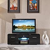 47 inch tv console - SUNCOO TV Stand Media Console Cabinet LED Shelves with 2 Drawers for Living Room Storage High Gloss Black for up to 47-inch TV Screens