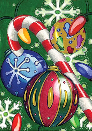 Toland Home Garden Holiday Cheer Festive Christmas Ornament Candy Cane House Flag