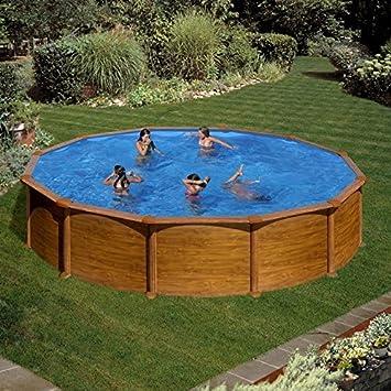 Schwimmbecken Aus Stahl Dekoration Holz Rund Ø 350 X 132 Cm