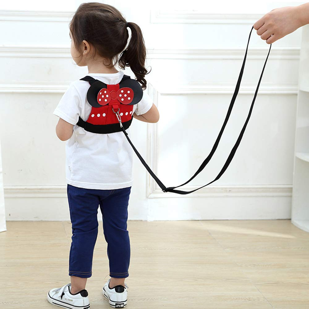 QXT Toddler Anti Lost Safety Backpack with Safety Leash Harness for Age 1-3 Years Old Boys and Girls - Disney Vacation Trip (Minnie) backpack leash 002