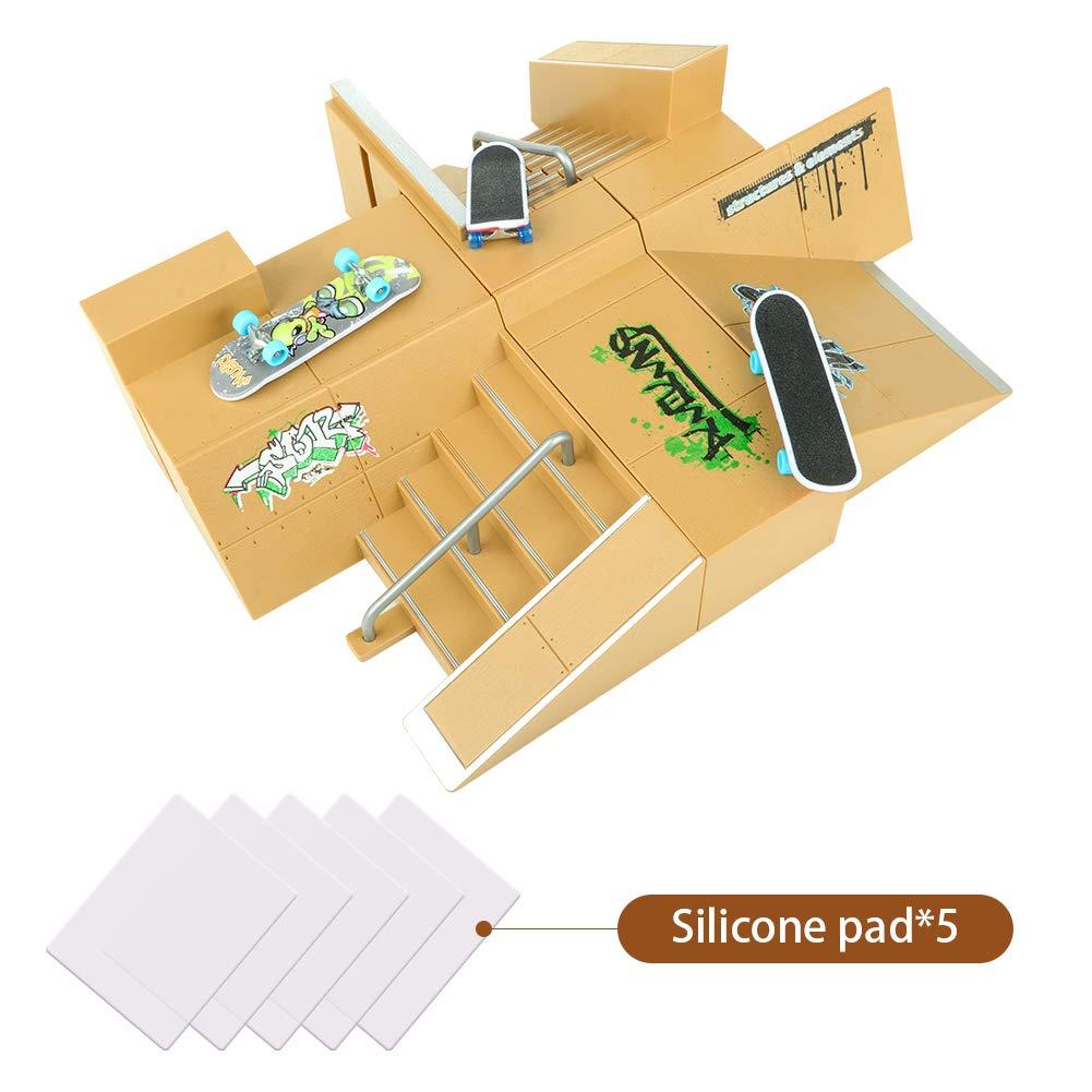 TIME4DEALS Finger Skateboard Park 8pcs Skate Park Kit Ramp Parts, Mini Fingerboard Rails Starter Kit with 3 fingerboards & 5 Silicone Mat Set by TIME4DEALS