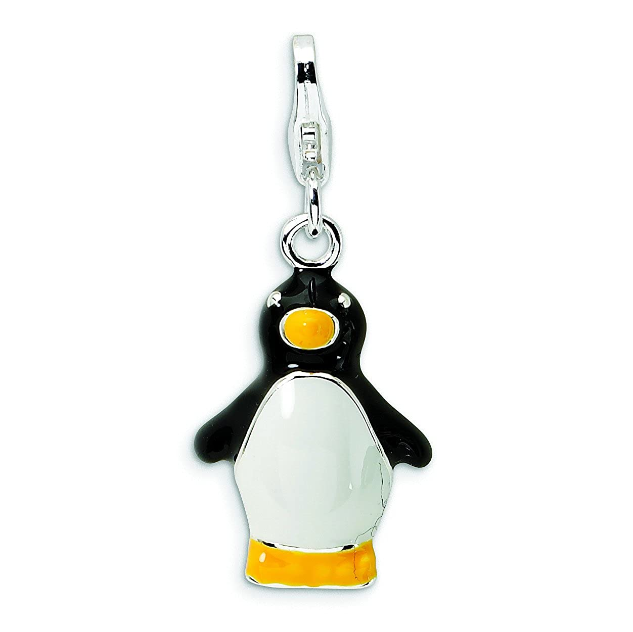 Sterling Silver 3-D Enamel Penguin W//Lobster Clasp Charm