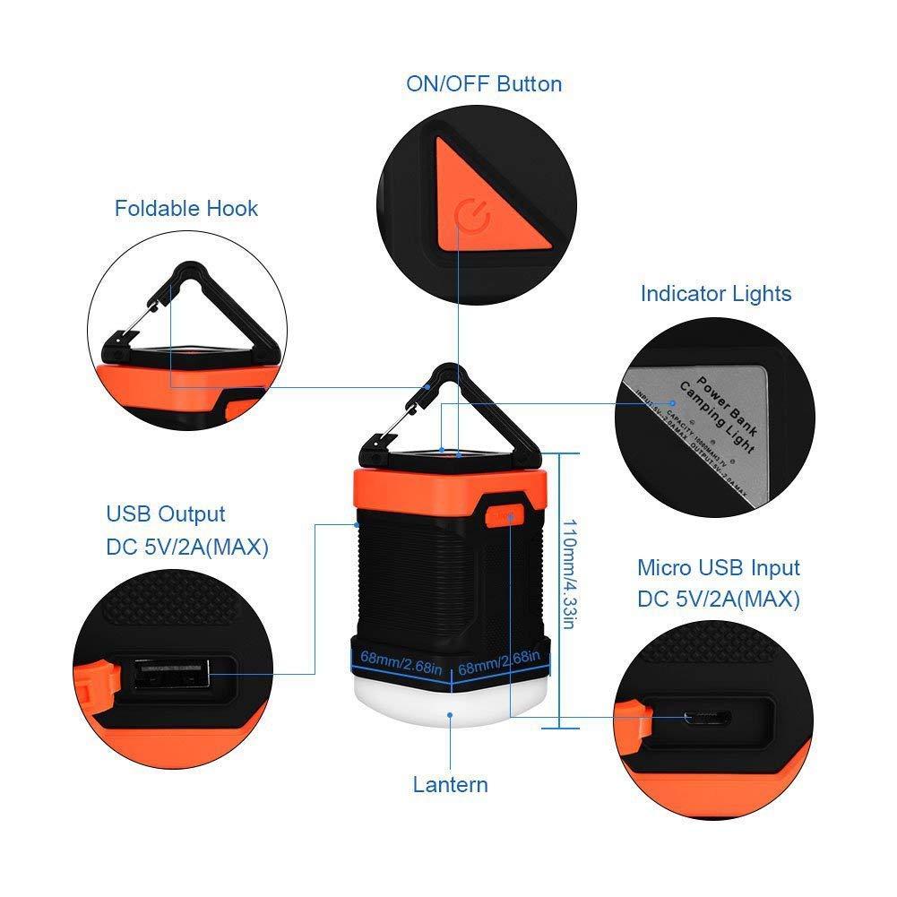 L/ámpara de Emergencia LED Impermeable IP65 al Aire Libre para L/ámpara de Pesca de Camping Cargador de Banco de Potencia 10000 mAh SUNTATOP Linterna de Camping